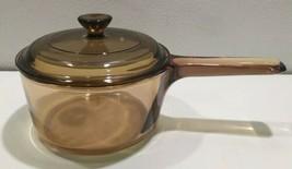 Vintage Vision Corning glass 1L Amber Pot Sauce & Lid Pyrex V 1 B - $24.28