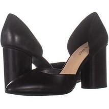 Nine West Charles Block Heel Pumps 182, Black Leather, 8 US - $23.99