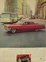 1964 Cadillac Red Hardtop City Scene Print Ad - $9.99