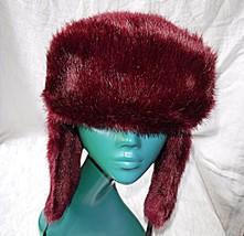 BEETROOT COLOUR RETRO DAVID CROCKETT HAT FABRIC FUR H&M ESKIMO EAR WARMERS - $15.39