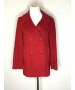 Fleurette Loro Piana 100% Wool Peacoat Coat Jacket Luxury Designer Red Sz 6 - $112.46