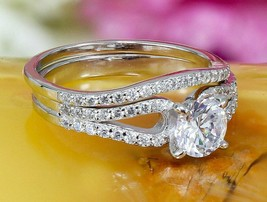 2.00Ct Diamond Solitaire Engagement Ring Set 14K White Gold Finish For W... - $84.52