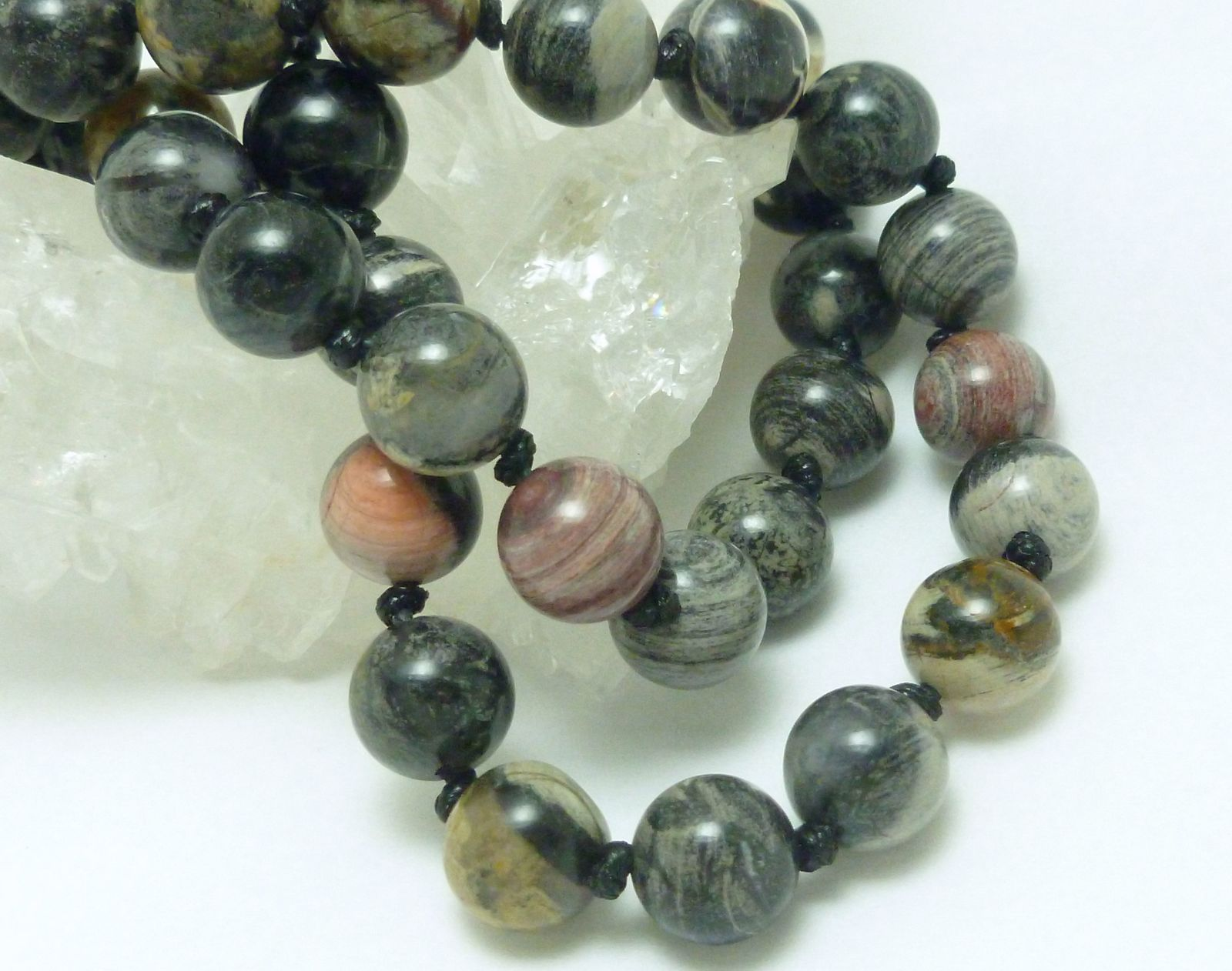 Primary image for Black Silver Leaf Jasper Beaded Round Gemstone Necklace 20 inch