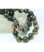 Black Silver Leaf Jasper Beaded Round Gemstone Necklace 20 inch - $35.00