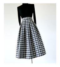 Women Black Houndstooth Skirt Winter Houndstooth Pleated Skirt Wool Party Skirt image 2