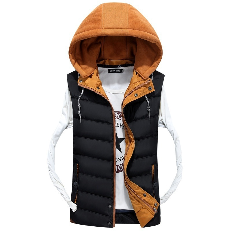 2018 New Fashion Autumn and Winter Couples Hooded Vest Jacket Men and Women Hit