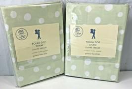 2 Green White Polka Dot Sham Pottery Barn Kids Standard Cotton Pillow Case New - $29.69