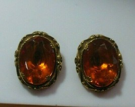 Vintage Kramer of New York Faceted Prong Set Amber Stone Clip-on Earrings - $74.25