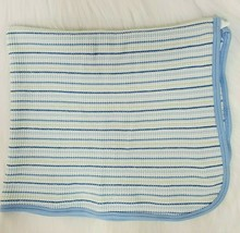Gerber Baby Blanket Blue Green White Striped Waffle Thermal Cotton Secur... - $19.99