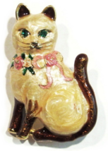 Cat Pin Brooch Pendant Brown White Frost Enamel Pink Bow Green Crystal Eyes - $14.99