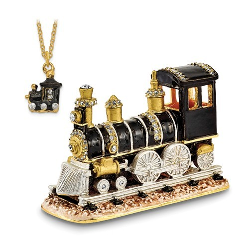 Bejeweled Crystal Enameled Train Trinket Box