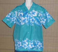 Kalena Fashions of Hawaii Aloha Shirt Turquoise with blue white Hibiscus... - $19.95