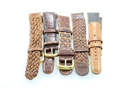 Fossil Name Brand Unisex Brown Leather 5pc Assorted Replacement Watch Ba... - $23.85