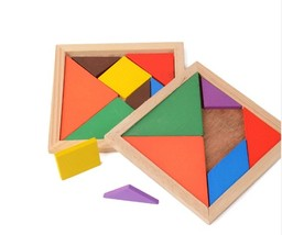 Wooden Tangram Jigsaw Board Multicolour Wood Geometric Shape DIY Puzzle  - $7.99