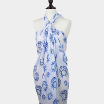 Blue & White Crab Print Pareo / scarf / sarong / wrap / cover up / multi... - €18,85 EUR