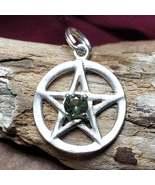 Divine Protection Moldavite Silver Pentacle Amulet Aura Cleanse & Healing Magick - $75.00