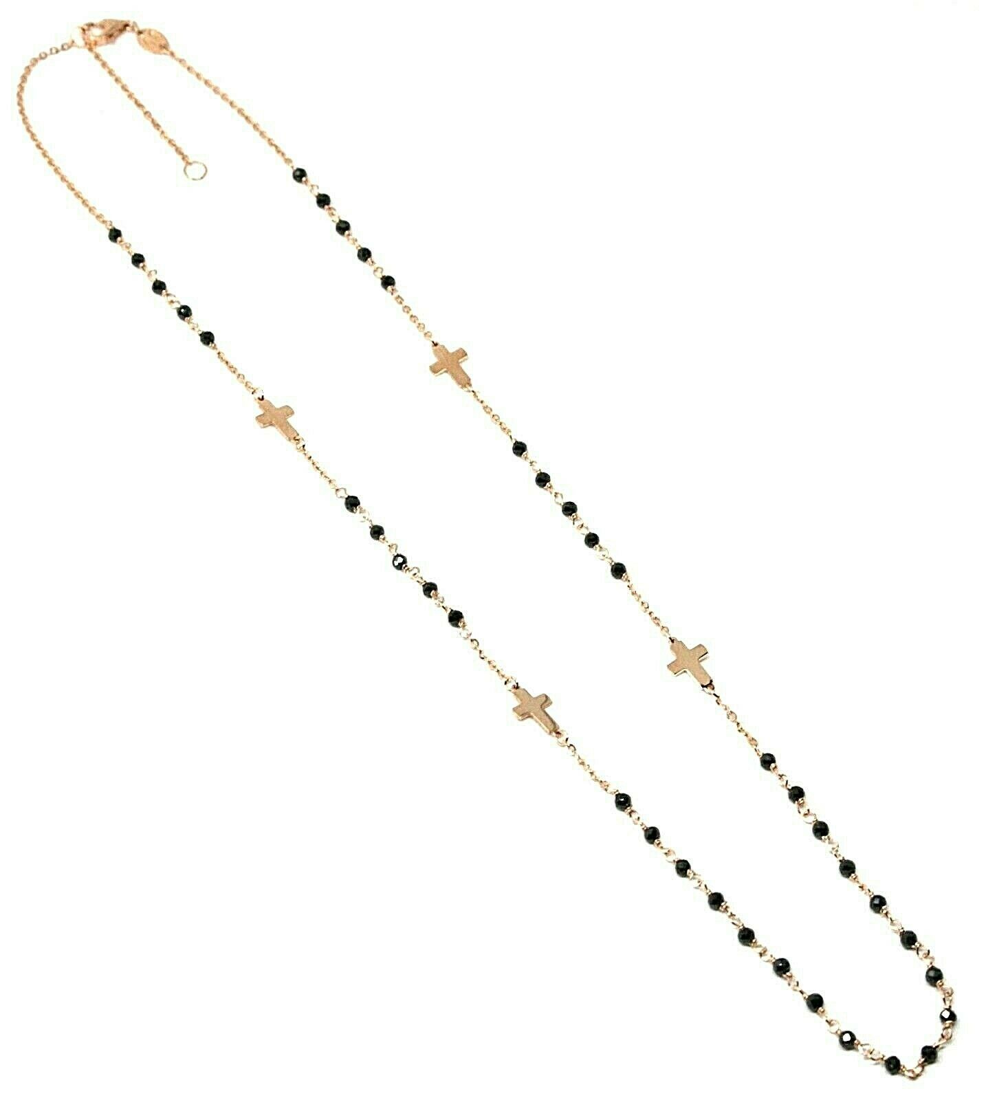 18K ROSE GOLD NECKLACE, FACETED BLACK SPINEL FLAT CROSS, ROLO CHAIN, ALTERNATE