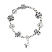 Truly Charming Happy Birthday Leather Charm Bracelet Pandora Style Gift Boxed - $25.99