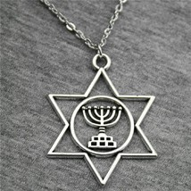 Fashion 2019 Necklace Pendant Judaism Menorah Star Of David 39x32mm Anti... - $7.48