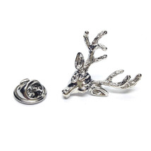 Stags Head with Full Antlers tie pin, Lapel Pin Badge, in gift box