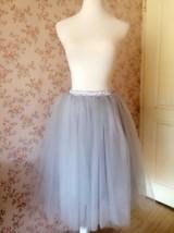 Grey Ballerina Tulle Skirt Knee Length Tulle Midi Skirt Custom Plus Size image 2