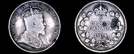 1904 Canada 5 Cent World Silver Coin - Canada - Edward VII - $6.99