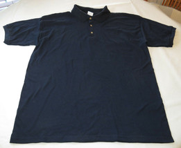 Gildan Activewear Ultrablend Heavyweight adult L large mens Navy polo shirt NOS - $13.36