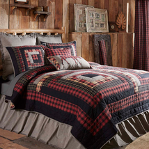 7-pc Twin Cumberland Quilt Set - Black Chambray Edition - Log Cabin - Vhc Brands