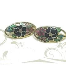 Vintage 70s Enamel Cloisonne Earrings Flower Oval Clip On - $8.28