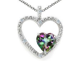 Women's Heart Pendant Necklace 0.63 Ct Rainbow Mystic Topaz 14k White Go... - $98.99
