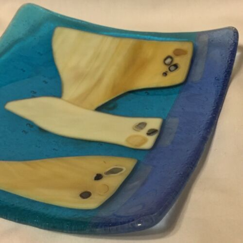 Glass Infused Blue Turquoise Creme Agate Slices Dish Curved