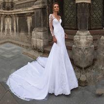 Elegant Eightale Mermaid Wedding Dress with Long Sleeves V-Neck Appliques Boho W image 1