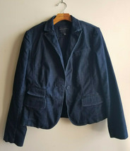 Banana Republic Women's Denim Blazer Jacket Dark Blue Cotton Size 10 Pre... - $67.49