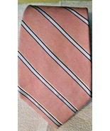 """Vintage Brooks Brothers Makers Pink Silver Striped Silk Tie 3.75"""" Blade USA - $14.84"""