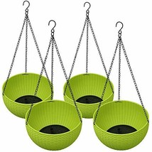 Homes Garden Plastic Rattan Hanging Planter 10.5 in. Dia Green 4-Pack Fl... - $57.98