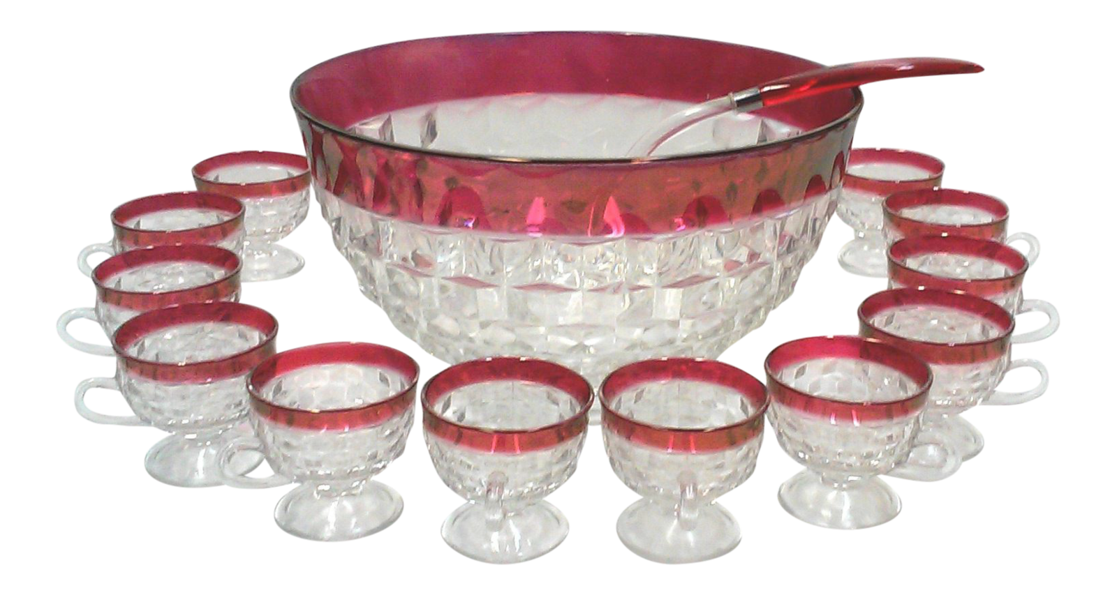 Faceted cranberry punch bowl cups and ladle 14 pieces