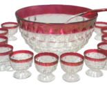 Faceted cranberry punch bowl cups and ladle 14 pieces thumb155 crop