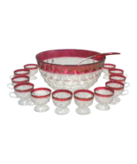 Vintage Cranberry Glass Punch Bowl Set of 14 - $750.00