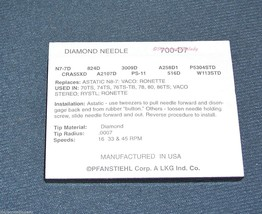 STYLUS NEEDLE ASTATIC VACO RONETTE CARTRIDGE RCA 108719 700-S7 700-D7 image 2