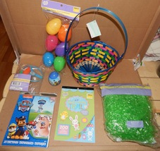 Easter Mix Lot 7 Items Basket Plastic Grass Stickers Eggs Racer Tattoos 163F - $12.49