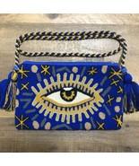 Authentic 100% Wayuu Crossbody Clutch Bag Medium Size Evil Eye Royal Blu... - £36.70 GBP