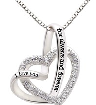 """I Love you Forever and Always"" Heart Necklace Embellished with Swarovsk... - $20.57"