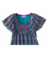 Candies Chiffon Mixed Media Zig Zag Blouse Top Girls 7-16 M 10-12 L 14 X... - $19.99