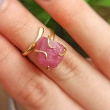 Raw Ruby Pink Sapphire Ring Gold Filled Adjustable July Birthstone Handmade NWT - $86.99