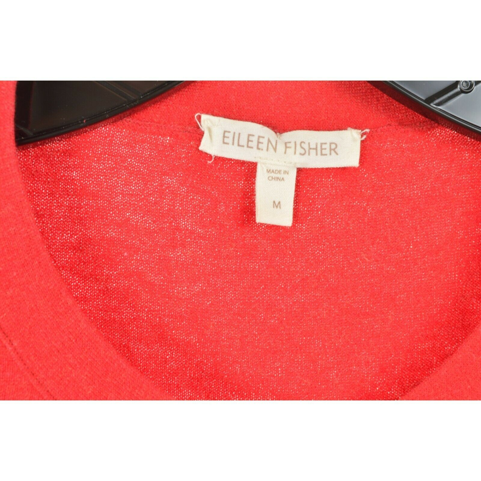 Eileen Fisher sweater M red cardigan 3/4 sleeves organic cotton cashmere blend image 6