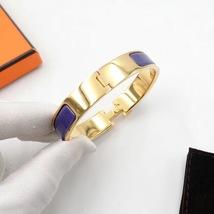 Authentic Hermes Navy Blue Enamel Gold H Clic-Clac Bracelet PM RARE image 4
