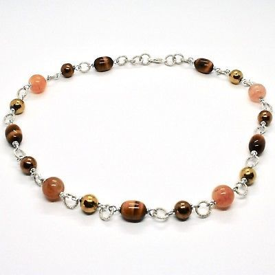 NECKLACE THE ALUMINIUM LONG 18 7/8in WITH TIGER'S EYE JADE AND HEMATITE