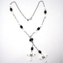 Silver 925 Necklace Black Onyx Tube, Double cross Pendant Chain, Oval image 2