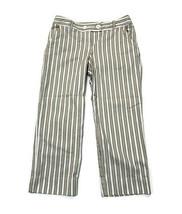 Ann Taylor Loft Cropped Pants Brown & White Striped Cotton Stretch Size 8 - $23.72