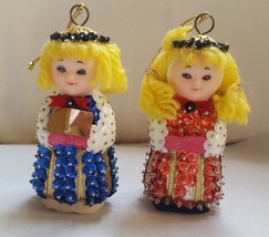 VINTAGE & rare BEADED W/SEQUENCE chorus girls w halos Christmas xmas ORN... - $29.69